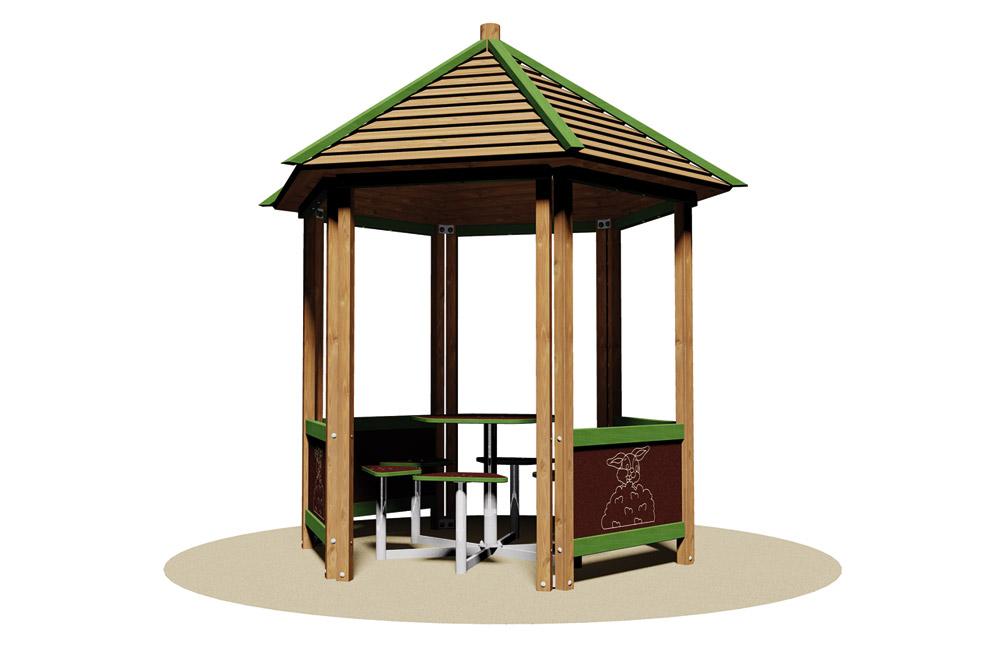Rifiugio con tetto e panche casetta in legno catalogo mepa - Portabici in legno ...